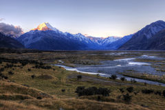 Mount Cook, New Zealand. Sunset over Mount Cook, Canterbury, New Zealand, South Island Royalty Free Stock Images