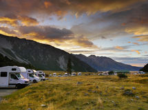 Mount Cook NP, Camping, New Zealand. Aoraki- Mount Cook National Park, camping. Valley track. Southern Alps. New Zealand royalty free stock photo