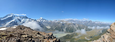 Mount Cook panoramic landscape, New Zealand. Stock Photography