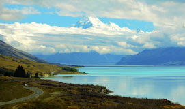 Majestic Mount Cook Mountain with Lake Pukaki royalty free stock images