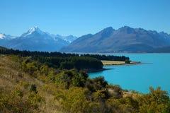 Mount Cook and Pukaki lake Stock Photography