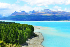 Mount Cook and Pukaki lake stock photos