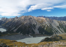 Mount Cook range. With Mueller and Hooker glacier lake, New Zealand Royalty Free Stock Photography