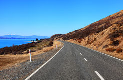 Mount Cook Road near Lake Pukaki Stock Image