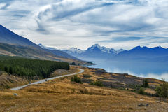 Mount Cook Road situated beside scenic Lake Pukaki leading to New Zealand's highest mountain Aoraki / Mount Cook Royalty Free Stock Photography
