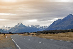 Mount Cook Road (State Highway 80) along the Tasman River leading to Aoraki / Mount Cook National Park and the village Royalty Free Stock Image