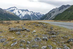 Mount Cook Road (State Highway 80) along the Tasman River leading to Aoraki / Mount Cook National Park and the village Royalty Free Stock Photo