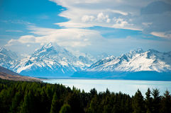 Mount Cook, Trees & Lake Royalty Free Stock Photos