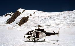 Mount Cook Trip. Mount Cook Top in Helicopter, New Zealand Royalty Free Stock Images