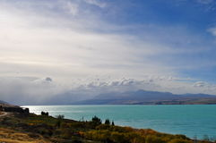 Mount Cook viewpoint with the lake Pukaki and road leading to mount cook village Stock Images