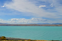 Mount Cook viewpoint with the lake Pukaki and road leading to mount cook village. Mount cook viewpoint with the lake pukaki and the road leading to mount cook Royalty Free Stock Images