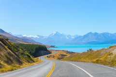 Mount cook viewpoint with the lake pukaki and the road leading to mount cook village in New Zealand. Stock Photos