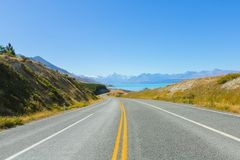 Mount cook viewpoint with the lake pukaki and the road leading to mount cook village in New Zealand. stock image