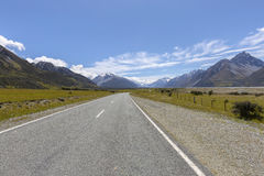 Mount cook viewpoint and the road leading to Mount Cook Village, NZ Royalty Free Stock Images