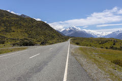 Mount cook viewpoint and the road leading to Mount Cook Village, NZ Royalty Free Stock Image