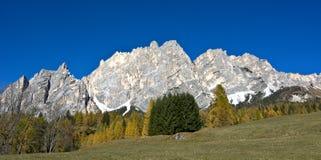 Mount Cristallo above Cortina D`ampezzo Royalty Free Stock Photography