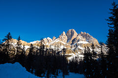 Mount Cristallo in a winter morning Stock Photos