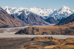Mount D`Archiac and the Southern Alps at The Rangitata River Hak Stock Photography