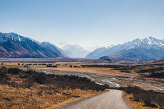 Mount D`Archiac and the Southern Alps at The Rangitata River Hakatere Conservation Park, New Zealand Royalty Free Stock Photography