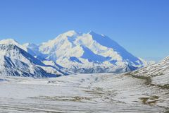 Mount Denali. Picture of snow covered Mount Denali at Stony Hill Scenic Overlook in Denali National Park Stock Photos