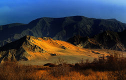 Mount desert under the sunset. In tibet qinghai golmud Stock Photo