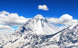 Mount Dhaulagiri with beautiful sky. View of mount Dhaulagiri from Thorung La pass with beautiful sky, round Annapurna circuit trekking trail, Nepal Himalayas royalty free stock photo