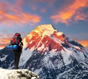 Mount Dhaulagiri with climber or tourist Stock Photo
