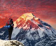 Mount Dhaulagiri with climber or tourist. Evening sunset view of mount Dhaulagiri with beautiful clouds, Himalayas, Nepal stock images
