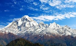 Mount Dhaulagiri with clouds on sky. Panoramatic view from Jaljala pass of Dhaulagiri Himal with clouds on sky - Guerrilla trek in Western Nepal Himalayas stock image