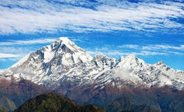 Mount Dhaulagiri with clouds on sky. Panoramatic view from Jaljala pass of Dhaulagiri Himal with clouds on sky - Guerrilla trek in Western Nepal Himalayas royalty free stock photos