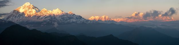 Mount Dhaulagiri and mount Annapurna - Nepal Stock Photo