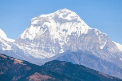 Mount Dhaulagiri, Nepal himalayas mountains. Panoramic view of mount Dhaulagiri, Nepal himalayas mountains royalty free stock photo