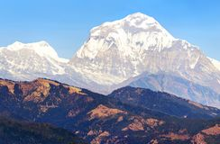 Mount Dhaulagiri, Nepal himalayas mountains. Panoramic view of mount Dhaulagiri, Nepal himalayas mountains stock photo