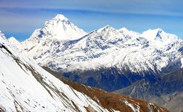 Mount Dhaulagiri, Nepal Himalayas mountains. Panoramic view from Thorung la pass Annapurna himal to Mount Dhaulagiri - Dhaulagiri himal - Nepal Himalayas stock photography