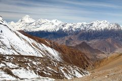 Mount Dhaulagiri, Nepal Himalayas mountains. Panoramic view from Thorung la pass Annapurna himal to Mount Dhaulagiri - Dhaulagiri himal - Nepal Himalayas royalty free stock photos