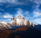 Mount Dhaulagiri, Nepal. Panorama of mount Dhaulagiri - view from Poon Hill on Annapurna Circuit Trek in the Nepal Himalaya royalty free stock photo