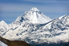 Mount Dhaulagiri from Thorung La pass, Nepal. View of mount Dhaulagiri from Thorung La pass, Nepal royalty free stock photos