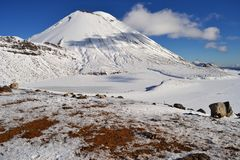 Mount Doom in the snow, winter landscape in Tongariro national park. Tongariro national park in winter weather. Sunny winter day, snow and ice covers the peak of stock image