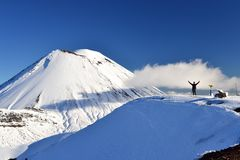 Mount Doom in the snow, winter landscape in Tongariro national park. Tongariro national park in winter weather. Sunny winter day, snow and ice covers the peak of royalty free stock photos