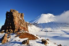 Mount Doom in the snow, winter landscape in Tongariro national park. Tongariro national park in winter weather. Sunny winter day, snow and ice covers the peak of royalty free stock image