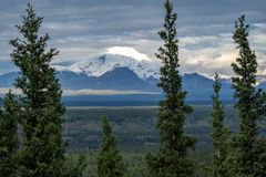 Mount Drum in Wrangell St Elias National Park as seen from Copper Center Alaska royalty free stock photos