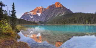 Mount Edith Cavell and lake, Jasper NP, Canada at sunrise. Mount Edith Cavell reflected in Cavell Lake in Jasper National Park, Canada. Photographed at sunrise royalty free stock images