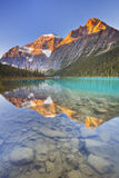 Mount Edith Cavell and lake, Jasper NP, Canada at sunrise. Mount Edith Cavell reflected in Cavell Lake in Jasper National Park, Canada. Photographed at sunrise stock photos