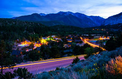 Mount Elbert and Hot Springs Mountain Town Stock Photography