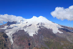 Mount Elbrus. Is an ancient extinct volcano and the highest mountain in Europe. Its height - 5642 m. view from mount Cheget royalty free stock image