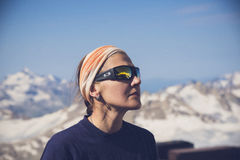 Mount Elbrus, Caucasus, Russian Federation. Snowy peaks of Mount Elbrus reflected in the sunglasses. Mount Elbrus, Caucasus, Russian Federation royalty free stock images