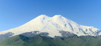 Mount Elbrus closed up, Russia. Mount Elbrus - Is a dormant volcano located in the western Caucasus mountain range, Russia Stock Photo