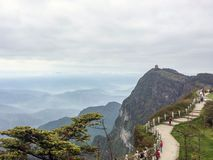 Mount emei in sichuan province, China. This is the scenery of the mountain peak in morning Royalty Free Stock Photo
