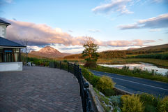 Mount Errigal at dusk. Nice Cloud at Mount Errigal in the evening sky stock photography