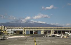 Mount Etna. Catania Airport, in Sicily, seen with Mount Etna in the far distance, behind royalty free stock photography